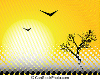 Nature - Illustration of a hot day with a tree and birds