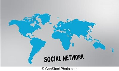 Global social network - Global growing social network, text