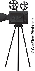 film cinema camera - black film cinema camera over white...