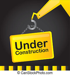 under construction yellow sign over black background. vector