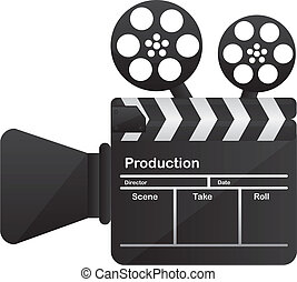 film cinema camera conceptual over white background vector