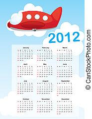 calendar 2012 with air plane cartoon vector illustration