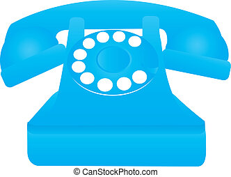 old phone - blue old telephone isolated over white...