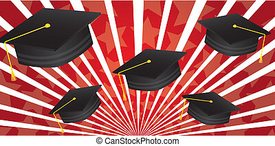 graduate hat over red background vector illustration