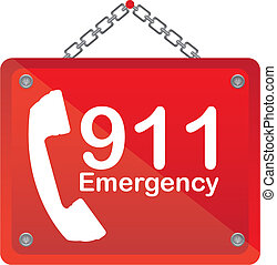911 emergency red board isolated vector illustration