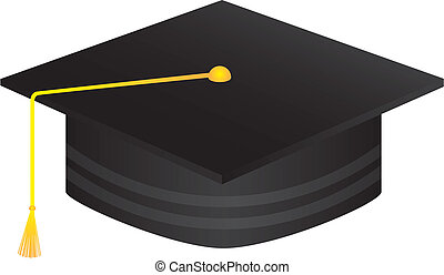 black graduate hat isolated over white background vector