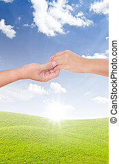 man holding woman hand isolated
