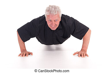 old man does push ups - cute old man does push ups on white