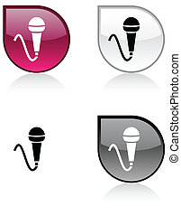 Mic button. - Mic glossy drop vibrant buttons.