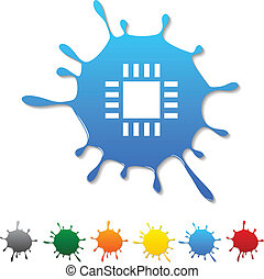 Cpu blot - Cpu blot icon Vector illustration