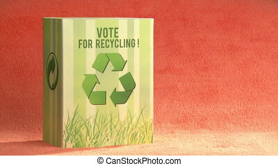 Ecology campaign, orange background - Vote for recycle....