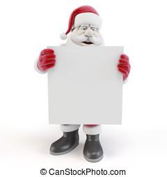 3d man santa with blank list