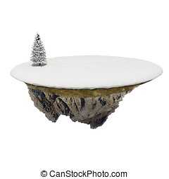 3d small island with snow and tree on white background