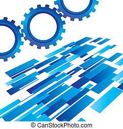 blue gears with abstract background vector illustration