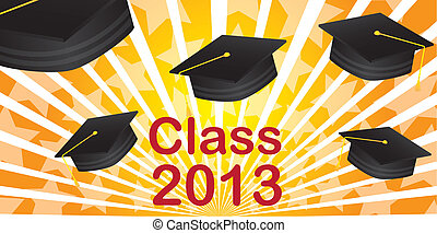 graduate hat class 2013 over orange background. vector