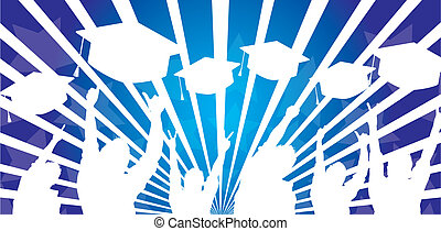 silhouette men graduate hat over blue background. vector
