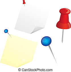 paper and push pin - papers and push pin isolated over white...