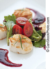 Fresh Seared Scallop - Perfectly seared scallop starter with...