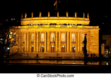 The old opera house in Stuttgart at night - The old opera...