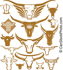 Cow and Bull Head Collection - A clip art collection of cow...