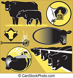 Cattle Clip Art - Clip art collection of cattle themed icons...