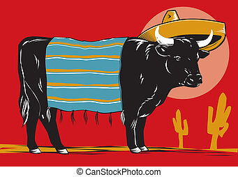 Mexican Beef - A beef cow with sombrero and blanket