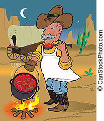 Chuckwagon Chili - A cowboy cook sampling his dinner from...