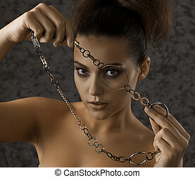 Girl with a chain.