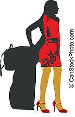 girl with luggage