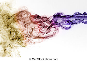 Colourful smoke with beautiful shape in front of white...