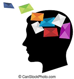 Multicoloured envelopes. A silhouette of a black head
