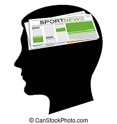 The newspapers in a head - Sport news. A silhouette of a...