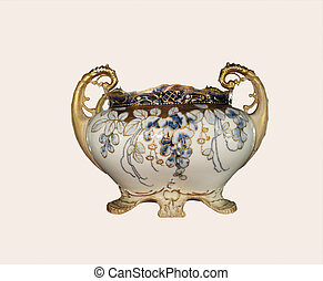 Antique vase with handles, gold trim and floral design,...
