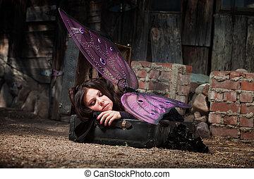 Sleeping Fairy - Faery in rustic scene sleeps in suitcase...
