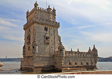 The well-known fortress of Belen in a river Tagus mouth...