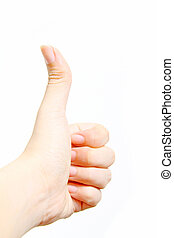 Thumbs up isolated - Made by a female hand