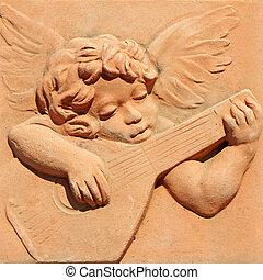 ange, jouer, guitare, toscan, terre cuite, Impruneta, Italie