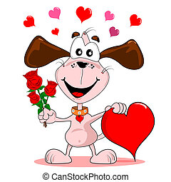 Puppy love - A cartoon dog with red roses love heart