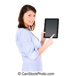 Tablet computer - A picture of a young woman holding a...