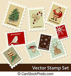 Xmas stamps - Vector Christmas stamps set
