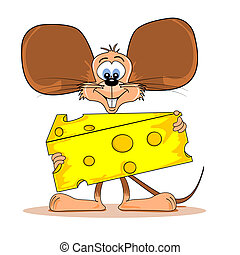 Cartoon mouse with cheese - Cartoon mouse holding a wedge of...