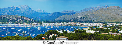 Panoramic View of Alcudia Bay with a bird's eye view. Island...