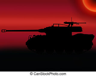 WW2 Sunset Tank Destroyer - WW2 Sunset Silhouette American...