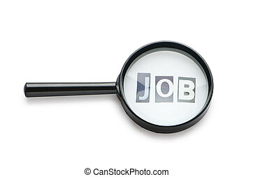 Unemployment concept with magnifying glass