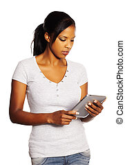 Woman using a Tablet PC - Portrait of a isolated young...