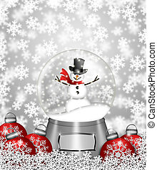 Snow Globe Snowman and Christmas Tree Ornaments - Water Snow...
