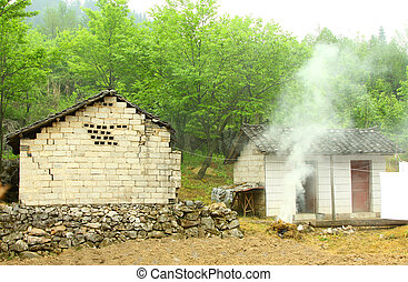 Typical house in countryside of China in Hunan Province