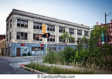 Downtown of Detroit, Michigan - View of abandoned downtown...