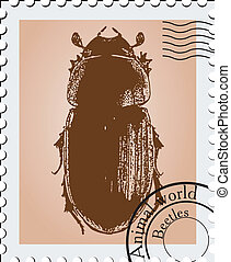 Vector stamp with a illustration of a beetle