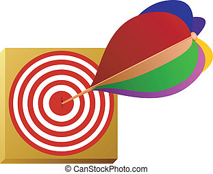 Vector image of a dart and the target